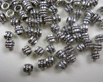 NEW - Antique Silver Plated Spacer Bead, 6x4mm. Pkg of 50 -