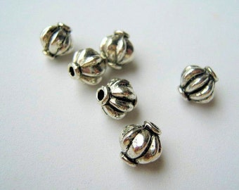 Antique Silver Beads,Large Silver plate saucer spacer beads  8x7mm. Pkg of 20