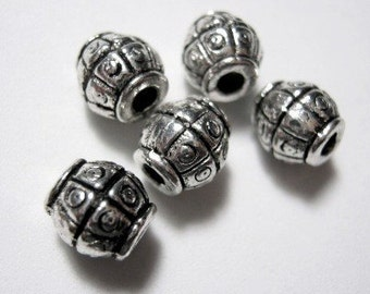 Antique Silver plated Bead, 7mm. Pkg of 50 B006