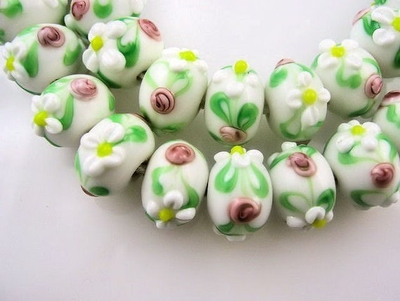 Lampwork Rondelles,  White with Raised Flowers, 5 pieces.