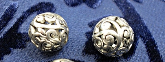 Silver Plated Large Lux Open Filigree Round Beads 14mm, per Bead