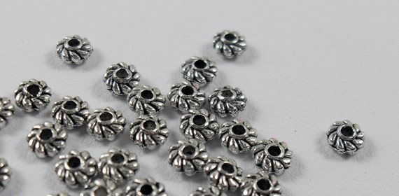 Antique Silver plate, Daisy Spacer Bead, Rope Design bead ,2x4mm.  Pkg of 100