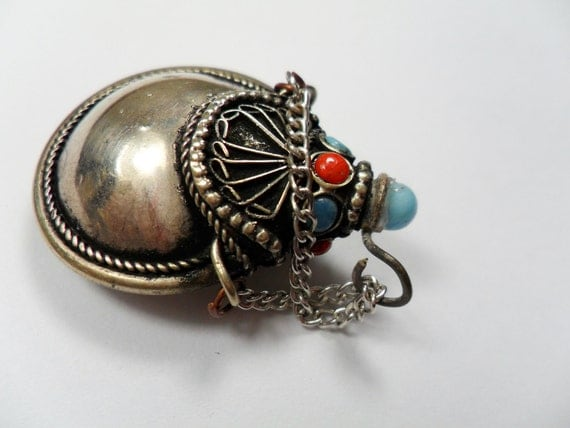 Tribal Focal Metal Pendant, Corked Stopped Bottle,Inlaid with red and Turquoise, 38x28mm. PKG OF 1