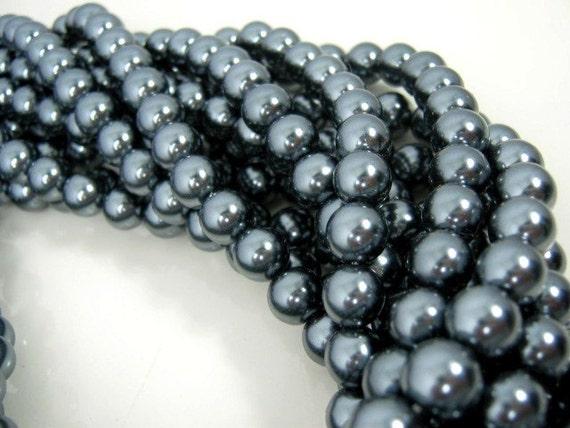 Blsck Glass Pearl Beads, Pearl Beads, Glass Pearls, 10mm, Black. Sold per 15 inch strand
