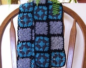Black, Gray, Charcoal and Turquoise Scarf