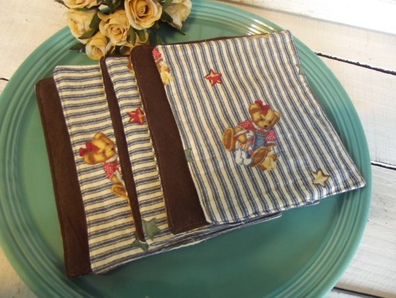Set of 6 Washcloths, Reusable Wipes, Napkins  Country Bears