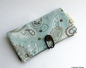 Women's Wallet, Mint Green and Brown Paisley Print Ladies Checkbook Sytle Wallet