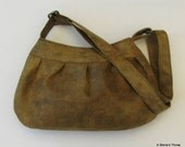 Women's Purse, Pleated Purse, Women's Brown Immitation Leather Pleated Hobo Purse with Adjustable Strap