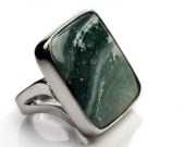 current- sterling silver and ocean wave jasper ring