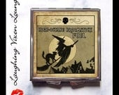 Witch Compact Mirror - Broomstick Pill Box - Magic Potion Label - Magic Spell - Pill Case - Purse Mirror - Makeup Mirror - Broomstick Fuel