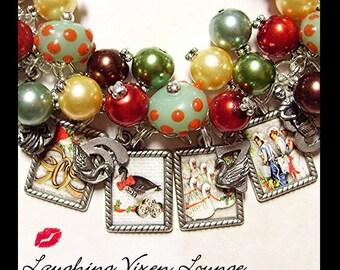 Christmas Jewelry - Christmas Bracelet - Christmas Necklace - Victorian 12 Days Of Christmas Charm Bracelet Full Photo - Holiday Jewelry