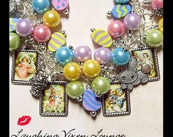 Easter Jewelry - Easter Bracelet - Bunny Jewelry - Rabbit Jewelry - Bunny Bracelet - Rabbit Bracelet - Retro Easter Charm Bracelet