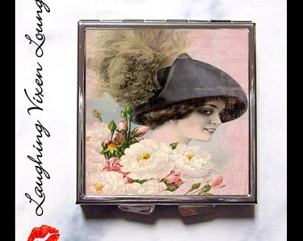 Compact Mirror - Pill Box - Vintage Ladies In Hats D - Whimsical Retro Women - Fashion Vintage Women - Victorian Women - Pill Case - Pillbox