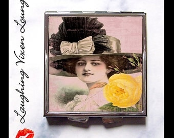 Compact Mirror - Pill Box - Vintage Ladies In Hats H - Whimsical Retro Women - Fashion Vintage Women - Victorian Women - Pill Case - Pillbox