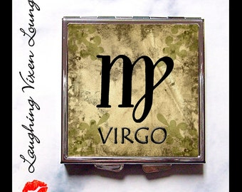 Virgo Compact Mirror Primitive - Virgo Pill Box - Zodiac Sign - Virgo Pill Case - August Birthday - September Birthday - Zodiac Case