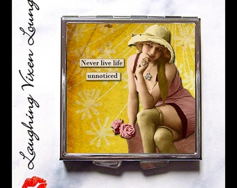 "Compact Mirror - Pill Box - Funny Vintage Ladies ""Life Unnoticed"" - Whimsical Retro Humor - Sassy Women - Vintage Retro Women - Pill Case"