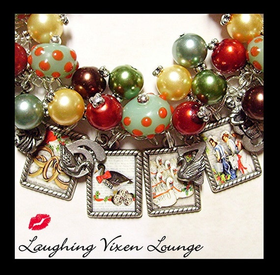 Christmas Jewelry - Holiday Jewelry - 12 Days Of Christmas Charm Bracelet - Christmas Bracelet - Holiday Bracelet - Twelve Days Of Christmas