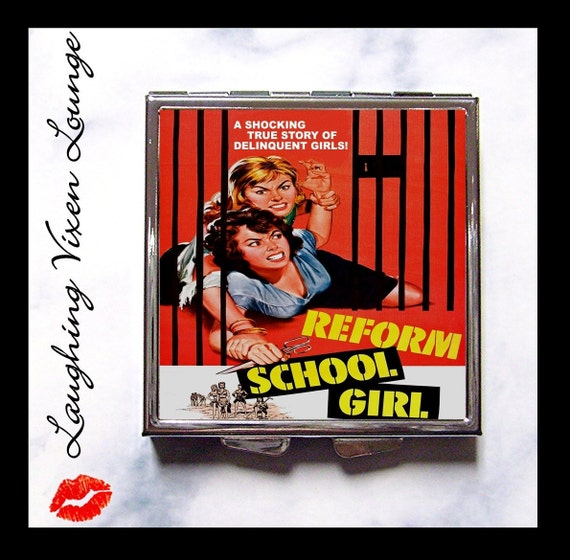 Pulp Movie - Compact Mirror - Pill Box - Reform School Girl - Cult Classic Movie - Retro Movie - Pill Case - Pillbox - B Movie