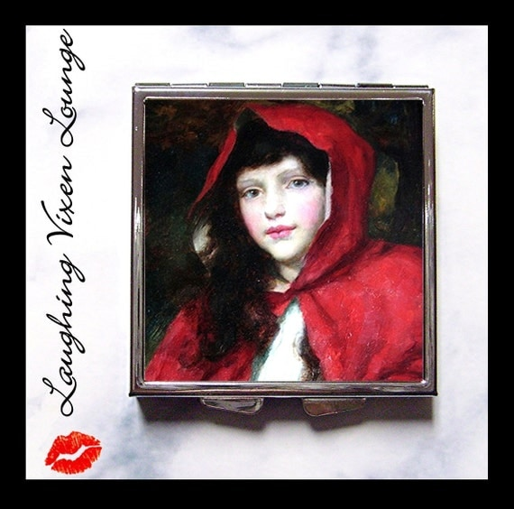 Red Riding Hood Compact Mirror Style-B - Fairy Tale - Fairytale - Pill Box - Brothers Grimm - Pill Case - Pillbox