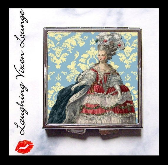 Marie Antoinette Compact Mirror D - Pill Box - Eat Cake - Edwardian Victorian Woman Ladies - Royal Queen France Paris French - Pill Case
