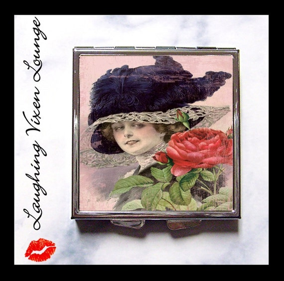 Compact Mirror - Pill Box - Vintage Ladies In Hats G - Whimsical Retro Women - Fashion Vintage Women - Victorian Women - Pill Case - Pillbox