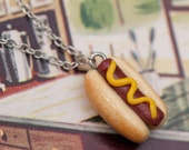 Necklace - Coney Island Hot Dog Weiner with Mustard Handmade by Roscata