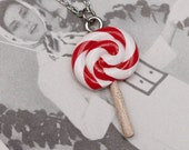 CLEARANCE SALE Necklace - Red and White Peppermint Lollipop Lolly Handmade by Roscata