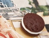 CLEARANCE SALE Necklace - Chocolate Whoopie Pie Handmade by Roscata