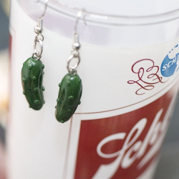 Roscata Kosher Green Dill Pickle Earrings - Handmade Polymer Clay Food Miniature Art Jewelry