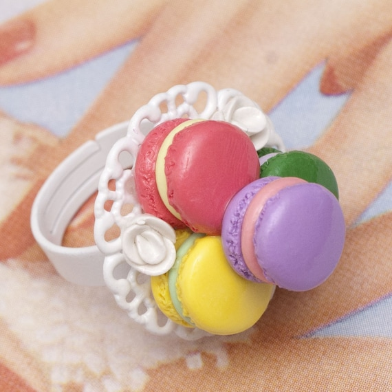 Cocktail Ring - Pastel French Lavender Macaron on Top Handmade by Roscata