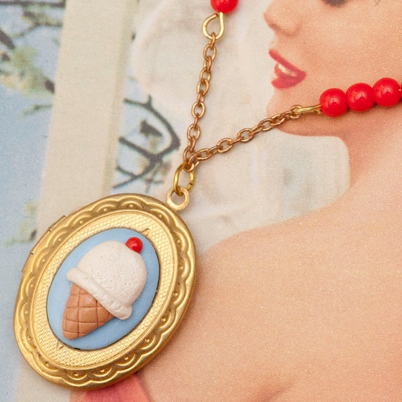 Oval Locket Necklace - Vanilla Ice Cream with Cherry on Blue Cameo with Red Glass Beads Handmade by Roscata