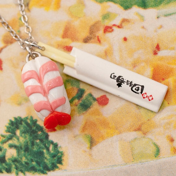 Charm Necklace - Japanese Sweet Shrimp Ebi Nigiri Sushi and Chopsticks Handmade by Roscata