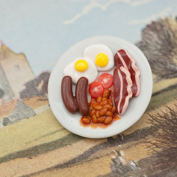 RESERVE for Leigh - Brooch or Pin - Traditional Full English Breakfast on Round Plate Handmade by Roscata