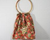 Floral Handbag / Unique Purse / Tapestry Bag / 1960s