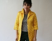 Vintage Jacket / Sunshine Yellow / Quilted Coat / 1970s
