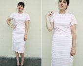 Vintage Day Dress / Textured Dress / Pastel Stripes / 1960s