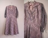 Vintage Evening Dress / Lace Overlay Dress / 1950s