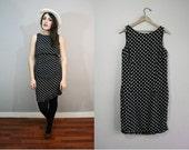 Vintage Dress / Polkadot Dress / Bodycon Dress / LBD / 1980s