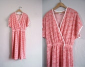 Vintage Sheer Dress / Abstract Printed Dress / Textured Frock / 1970s