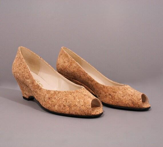 Vintage Wedges / Peep Toe Shoes/ Cork Wedges / Sz 8 / 1960s