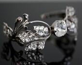 Wedding Cuff Bracelet,  Silver Leaves  with Swarovski  Rhinestone, Wedding Jewelry, MISCHKA