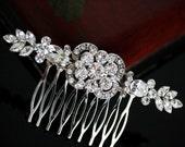 Swarovski Rhinestone Bridal comb, Art Deco Wedding Hair Accessories, Veil Comb, FRANCES COMB