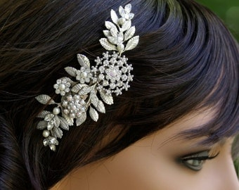Bridal Hair Comb Leaves Headpiece Vintage Wedding Comb Rhinestone Wedding Hair Accessories Leaves Headpiece IVY
