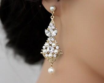Gold Wedding Earrings Chandelier Earrings Vintage Bridal Earrings Ivory White  Pearl crystal Wedding Jewelry, PARIS
