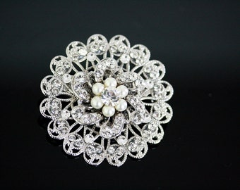 Round Bridal Brooch Rhinestone Flower Wedding Pin Swarovski crystal Pearl Wedding jewelry SABINE ROUND