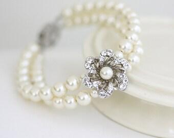 Pearl Bridal Bracelet Wedding Bracelet Swarovski Crystal Flower Wedding Jewelry Vintage Wedding Double Strand Bracelet SABINE SMALL