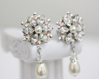 Bridal Earrings, Crystal flower Wedding earrings, Pearl earrings, Bridal Jewelry rhinestone Pearl Bridal Earrings, AUBURY PEARL