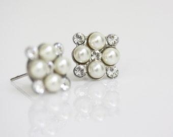 Square Bridal Wedding Earrings Pearl Stud Earrings Small Bridal Earrings Post earrings White Ivory Pearl Wedding Jewelry, MARCELLA STUD