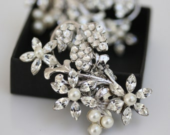 Wedding Shoe Clips Pearl Rhinestone Crystal Flower Shoe Clips Vintage Wedding Accessories AUBURY