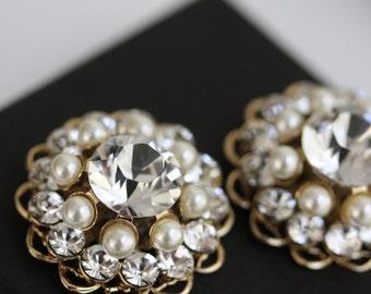 Gold Wedding Shoe Clips Bridal Shoe Clip Crystal  Pearl Round Rhinestone Shoe Clips . ELLA